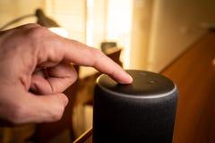 Barcelona, Spain. January 2019: Selective focus on Amazon Echo Plus smart Home device