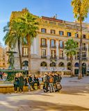 Medinaceli Duke Square, Barcelona, Spain. BARCELONA, SPAIN, JANUARY - 2018 - Winter day scene at medinaceli duke square at gothic neighborhood in barcelona stock photography