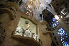 Free Barcelona, Spain - July 5, 2016: Interior Stained Glass, Ceiling And Lighting Of La Sagrada Familia In Barcelona Stock Images - 162225514