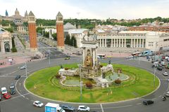 BARCELONA, SPAIN - JULY 13, 2018: aerial view of Placa d`Espanya and National Art Museum in Barcelona, Catalonia, Spain Stock Images