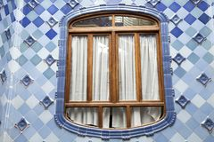 Decorative window on Casa Batllo. Detail of the inner facade of Casa Batllo in Barcelona, Spain. The architectural masterpiece of Antonio Gaudi stock photo