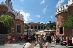 BARCELONA, SPAIN - JULY 8: The famous Park Guell on July 8, 2014 Stock Photo