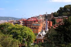 BARCELONA, SPAIN - JULY 8: The famous Park Guell on July 8, 2014 Stock Photography