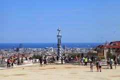 BARCELONA, SPAIN - JULY 8: The famous Park Guell on July 8, 2014 Royalty Free Stock Photos