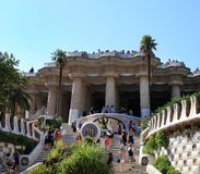 BARCELONA, SPAIN - JULY 8: The famous Park Guell on July 8, 2014 Stock Image