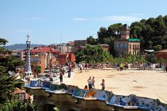 BARCELONA, SPAIN - JULY 8: The famous Park Guell on July 8, 2014 Stock Images
