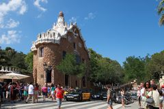 BARCELONA, SPAIN - JULY 8: The famous Park Guell on July 8, 2014 Royalty Free Stock Photo