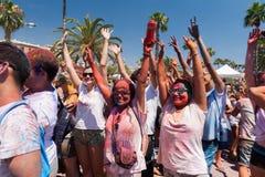 BARCELONA, SPAIN - JULY 9, 2014: Holi festival royalty free stock images