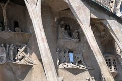 BARCELONA, SPAIN - JULY 8: La Sagrada Familia - the Cathedral de Royalty Free Stock Images