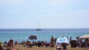 Barcelonetta beach, Barcelona stock footage