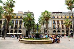 BARCELONA, SPAIN - JULY 13, 2018: Plaza Real with fountain in Barcelona. Plaza Real lies next to La Rambla stock photos