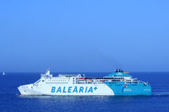 BARCELONA, SPAIN - July 24: the ship Balearia+ lines heading to Stock Images