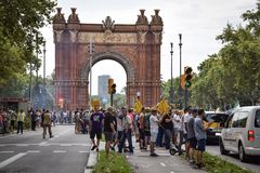 Barcelona, Spain - July 25, 2018: Taxidrivers demonstrate against injustice with posters, flags and smoke bomb. Taxi drivers protest against too many licenses stock photo