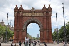 BARCELONA SPAIN - JUNE 9: At Arch of Triumph in ciutadella park,. Barcelona, Spain on June 9, 2013. Barcelona is one of the most populated metropolitan areas in Royalty Free Stock Image