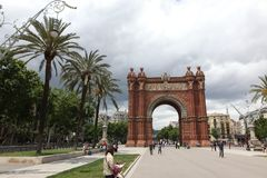 BARCELONA SPAIN - JUNE 9: At Arch of Triumph in ciutadella park,. Barcelona, Spain on June 9, 2013. Barcelona is one of the most populated metropolitan areas in Stock Images