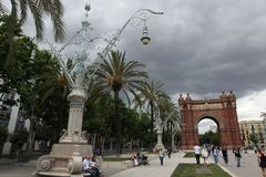 BARCELONA SPAIN - JUNE 9: At Arch of Triumph in ciutadella park,. Barcelona, Spain on June 9, 2013. Barcelona is one of the most populated metropolitan areas in Stock Photo