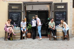 BARCELONA SPAIN - JUNE 9: At cafe sidewalk in Barcelona Spain on Royalty Free Stock Images