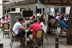 BARCELONA SPAIN - JUNE 9: At cafe sidewalk in Barcelona Spain on Royalty Free Stock Photo