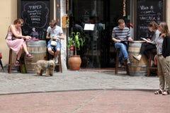 BARCELONA SPAIN - JUNE 9: At cafe sidewalk in Barcelona Spain on Royalty Free Stock Image