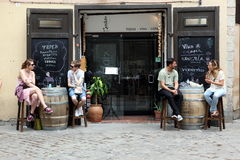 BARCELONA SPAIN - JUNE 9: At cafe sidewalk in Barcelona Spain on Stock Image