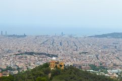City view from Tibidabo in Barcelona, Spain on June 22, 2016. Royalty Free Stock Photography