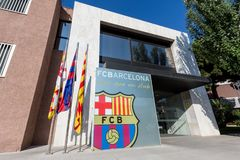 FC Barcelona residence in Camp Nou Studium, Barcelona, Spain. BARCELONA, SPAIN - June 15, 2015: FC Barcelona residence in Camp Nou Studium, Barcelona, Spain stock image