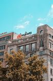 Barcelona, Spain. June 2019: Huawei Technologies Ad sing on a building in Plaza Catalunya. Barcelona, Spain. June 2019: Huawei Technologies Ad sing on top of a royalty free stock photos