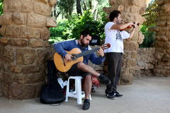 BARCELONA SPAIN - JUNE 9:Musician at public outdoors, Barcelona Royalty Free Stock Photo