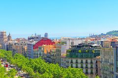 Panorama of the center of Barcelona, the capital of the Autonomy Royalty Free Stock Image