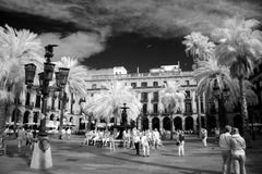 BARCELONA, SPAIN - JUNE 09: Plaza Real on June, 2013 in Barcelon Royalty Free Stock Image