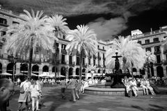 BARCELONA, SPAIN - JUNE 09: Plaza Real on June, 2013 in Barcelon Royalty Free Stock Photography