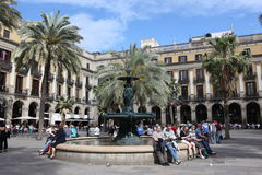 BARCELONA, SPAIN - JUNE 09: Plaza Real on June, 2013 in Barcelon Royalty Free Stock Images