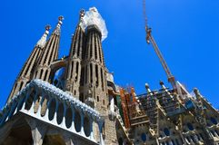 Sagrada de Familia in Barcelona, Spain on June 22, 2016. It was designed by Antoni Gaudi and is part o Stock Photography