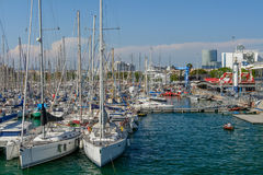 Barcelona, Spain - June 6: Sail boats on June 6, 2016 in Barcelo Stock Photography