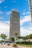 Skyscraper Torre Mapfre in the Port Olímpic Olympic Port. royalty free stock image