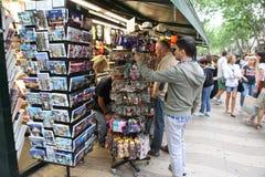 BARCELONA, SPAIN - JUNE 09: Souvenir shop at La Rambla street on Stock Photography