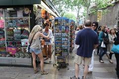 BARCELONA, SPAIN - JUNE 09: Souvenir shop at La Rambla street on Royalty Free Stock Photo