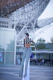 Stilt street artist performing at Ciutadella, Barcelona, Spain stock photography
