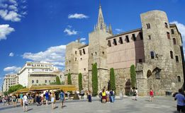 BARCELONA, SPAIN - JUNE 29th, 2017: Palau Reial Royal Palace in catalan at Placa del Rei King`s Square, in the heart of Barri Goti. C gothic quarter. Barcelona Royalty Free Stock Images