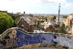 Top of the entrance house from  Park Guell in Barcelona Stock Photo