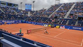 Kei Nishikori player in The Barcelona Open, an annual tennis tournament for male professional player. Barcelona, Spain; 04 25 2019: Kei Nishikori player in The royalty free stock photo