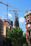 BARCELONA, SPAIN. La Sagrada Familia - cathedral designed by architect Gaudi, built on 19 March 1882 and is not finished, May 11, 2013 Royalty Free Stock Photos