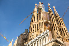 BARCELONA, SPAIN - La Sagrada Familia - the impressive cathedral designed by Gaudi Royalty Free Stock Images