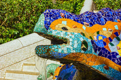 Barcelona, Spain. Lizard mosaic sculpture in Park Guell Stock Photo