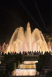 Barcelona Spain: the Magic Fountain. Barcelona Catalunya, Spain: the Magic Fountain Fuente Magica, Font Magica of Montjuic, with plays of colorful lights at stock photos