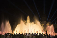 Barcelona Spain: the Magic Fountain. Barcelona Catalunya, Spain: the Magic Fountain Fuente Magica, Font Magica of Montjuic, with plays of colorful lights at royalty free stock photos