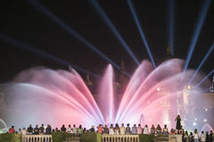 Barcelona Spain: the Magic Fountain. Barcelona Catalunya, Spain: the Magic Fountain Fuente Magica, Font Magica of Montjuic, with plays of colorful lights at royalty free stock image