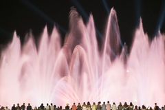 Barcelona Spain: the Magic Fountain. Barcelona Catalunya, Spain: the Magic Fountain Fuente Magica, Font Magica of Montjuic, with plays of colorful lights at royalty free stock images
