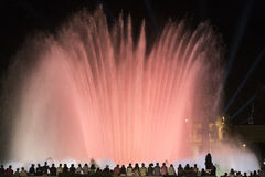 Barcelona Spain: the Magic Fountain. Barcelona Catalunya, Spain: the Magic Fountain Fuente Magica, Font Magica of Montjuic, with plays of colorful lights at royalty free stock photography