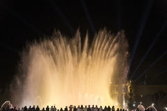 Barcelona Spain: the Magic Fountain. Barcelona Catalunya, Spain: the Magic Fountain Fuente Magica, Font Magica of Montjuic, with plays of colorful lights at stock images
